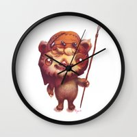 ewok Wall Clocks featuring Wicket the ewok by Myev