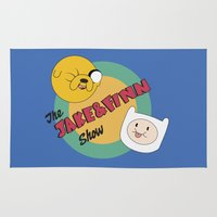 finn and jake Area & Throw Rugs featuring The Jake & Finn Show. by Agu Luque