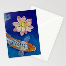 Koi Fish and Lotus Stationery Cards