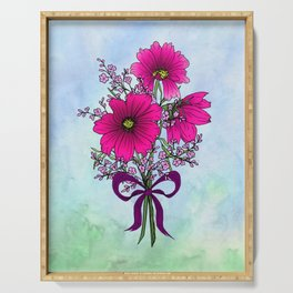 Magenta Cosmos with German Statice Bouquet on Sky Serving Tray