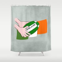 rugby Shower Curtains featuring Rugby Ireland Flag by mailboxdisco