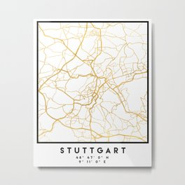 STUTTGART GERMANY CITY STREET MAP ART Metal Print