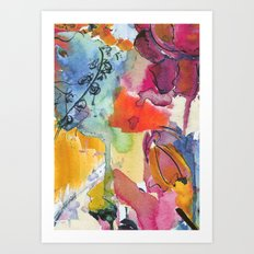 Abstract floral watercolour Art Print