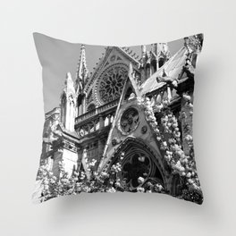 Blossoms, Spires and Gargoyles Throw Pillow