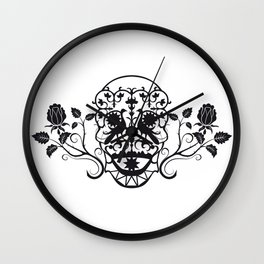 SKULL FLOWER 03 Wall Clock