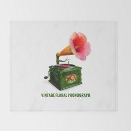ORGANIC INVENTIONS SERIES: Vintage Floral Phonograph Throw Blanket