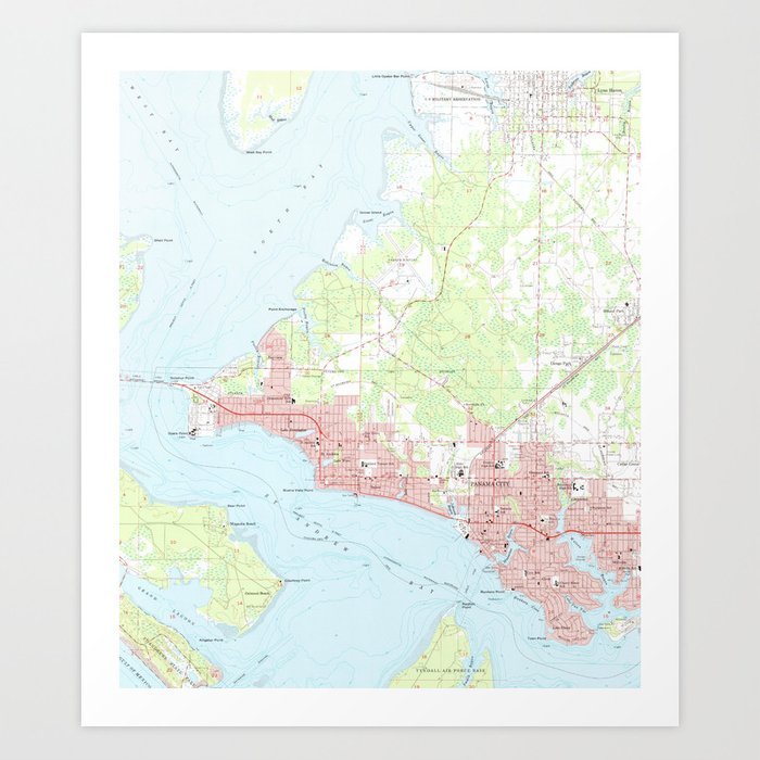 Panama City Beach Florida Map.Vintage Map Of Panama City Florida 1956 Art Print By Bravuramedia