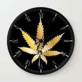 Gold Cannabis Leaf Wall Clock