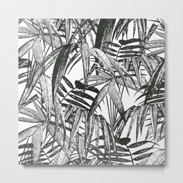 Black and White Vintage Palm Leaf Pattern Metal Print