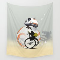 brad pitt Wall Tapestries featuring CAT INSIDE DROID by Tummeow