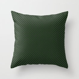 Black and Hippie Green Polka Dots Throw Pillow