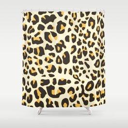 Trendy brown black abstract jaguar animal print Shower Curtain
