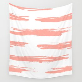 Pretty Pink Brush Stripes Horizontal Wall Tapestry
