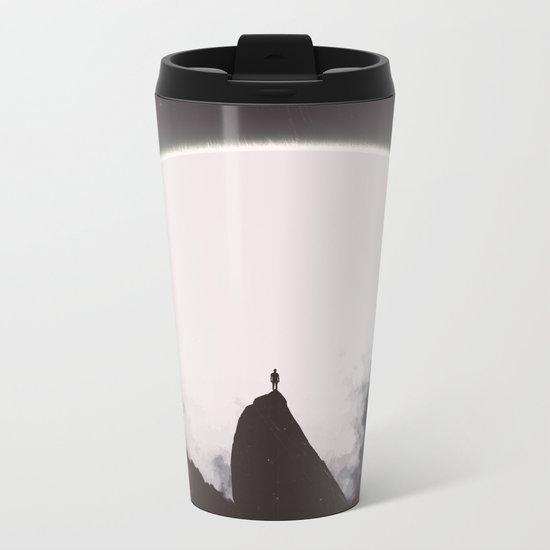 Abaddon Black & White Metal Travel Mug