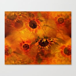 Autumn Playful Sunflowers Canvas Print