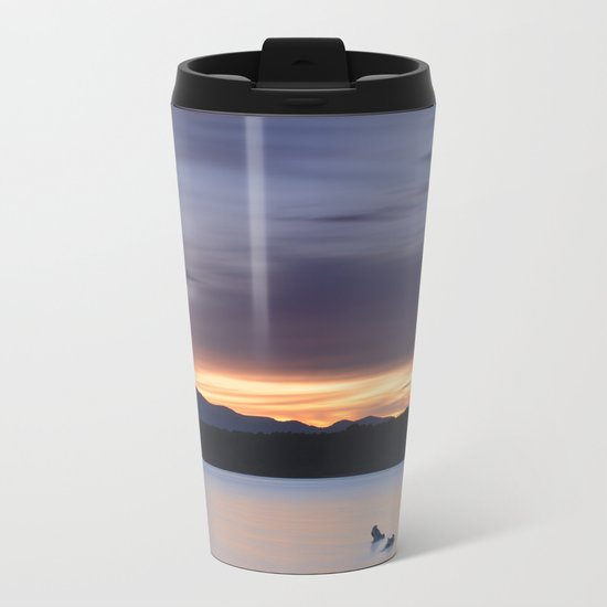 """""""Serenity lake"""". At sunset Metal Travel Mug"""