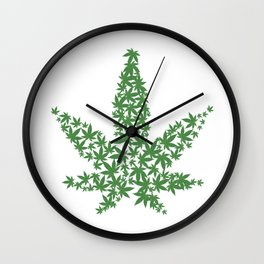Marijuana Pot Leaf made of many cannabis weed leaves Wall Clock