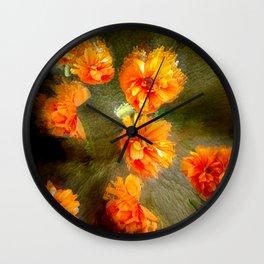 Orange poppy abstract Wall Clock