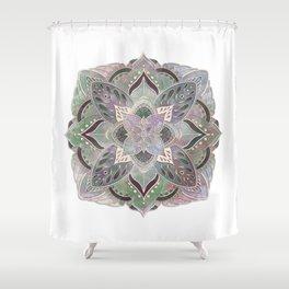 Embossed Green and Purple Mandala Shower Curtain
