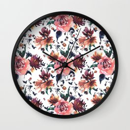 Hand painted coral burgundy watercolor roses floral pattern Wall Clock