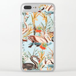 Swan floating in lake Clear iPhone Case
