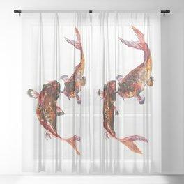 Two Koi, Feng Shui Art Koi Fish, Koi Fish design, Yin Yang Sheer Curtain