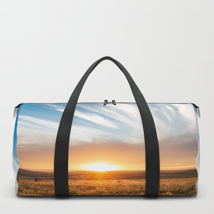Grand Exit - Golden Sunset on the Oklahoma Prairie Duffle Bag