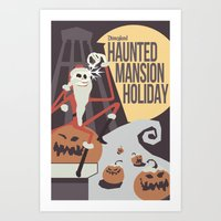 haunted mansion Art Prints featuring Haunted Mansion Holiday by The Disneyland Minimalist