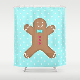 Yummy Gingerbread Man Cookie Shower Curtain