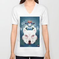 princess mononoke V-neck T-shirts featuring Princess Mononoke by Roberta Oriano