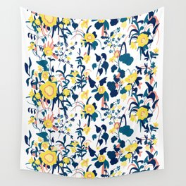 Buttercup yellow, salmon pink, and navy blue flowers on white background pattern Wall Tapestry
