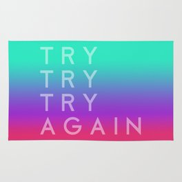 Colorful motivation quote. Keep trying. Rug