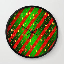 Holiday Season Stars and Stripes  Wall Clock