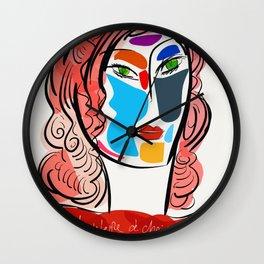 Poetic Pop Art Portrait Wall Clock