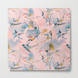 Pinky, Sunny Boho Birds / Pink, Blue, Yellow Metal Print