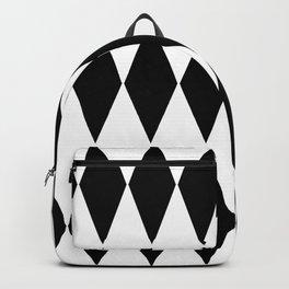 LARGE  WHITE AND BLACK   HARLEQUIN DIAMOND PATTERN Backpack