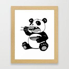 Panda Eating Sushi Framed Art Print