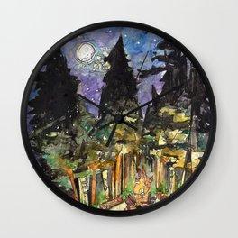 Campfire Under a Starry Sky Wall Clock