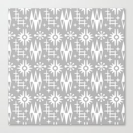 Mid Century Modern Atomic Space Age Pattern Grey Canvas Print