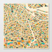 map Canvas Prints featuring Amsterdam Map by Jazzberry Blue