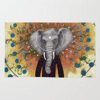ganesh Area & Throw Rugs featuring Ganesh awake by Nico Abisal