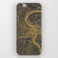 cincinnati iPhone & iPod Skins featuring Cincinnati map by Map Map Maps