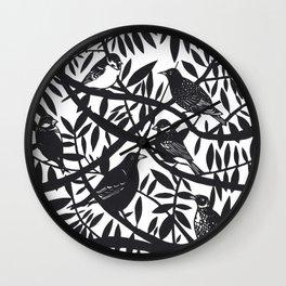 Perched Garden Birds Wall Clock