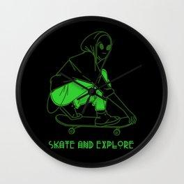 Skate And Explore Wall Clock