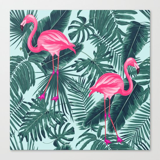 tropical pink flamingo Canvas Print
