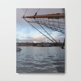 ship at sunset Metal Print