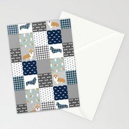 Corgi Patchwork Print - navy, dog, buffalo plaid, plaid, mens corgi dog Stationery Cards