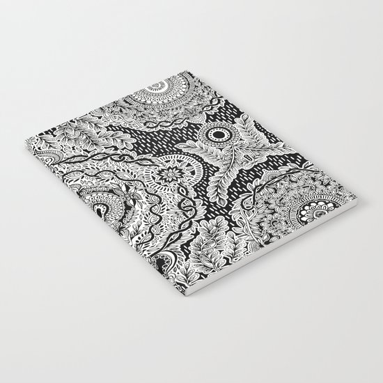 Rain in the Garden - black and white Notebook