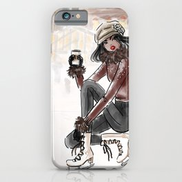 Bryant Park Ice Skating Girl iPhone Case