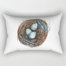 Blue Bird Nest Rectangular Pillow